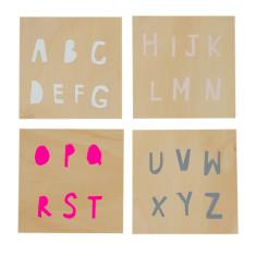 Alphabet screenprints on plywood (set of 4)