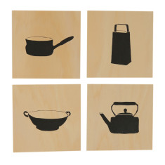 Kitchen objects screenprints on plywood (set of 4)