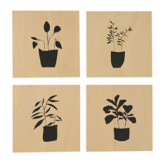 Pot plants screenprints on plywood (set of 4)