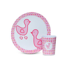 Cup and plate set in pink duck print