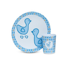 Cup and plate set in blue duck print