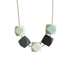 Tetra wood necklace in almost midnight