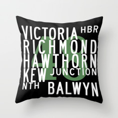 Melbourne tram route 48 cushion cover
