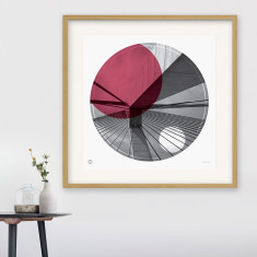 Anzac Bridge Sydney circle print in ruby