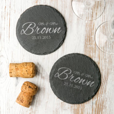 Personalised wedding slate coasters
