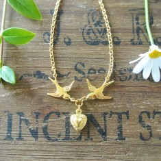 Cherie gold swallows and heart necklace