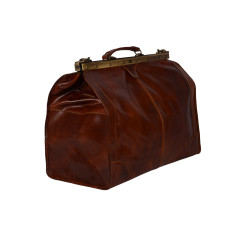 Gladstone brown leather duffle bag