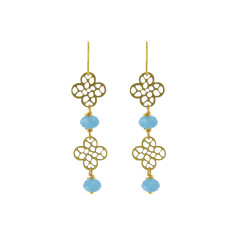 Double blue flower earrings