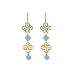Double blue flower earrings