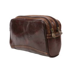 Tino-rock chocolate leather toiletry bag