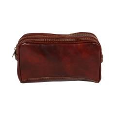 Tino-rock brown leather toiletry bag