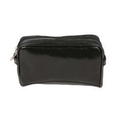 Tino-rock black leather toiletry bag