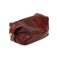 Tino-pop brown leather toiletry bag