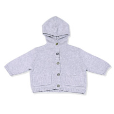 Cashmere & cotton blend baby hooded cardi