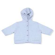 Cashmere/cotton blend baby hooded cardigan in soft blue