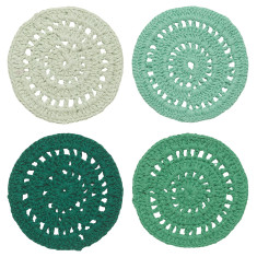 Crochet coasters in hemlock (set 4)