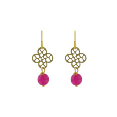 Pink quatrefoil earrings
