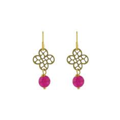 Pink quatrefoil earrings