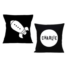 Rocket personalised cushion covers (set of 2)