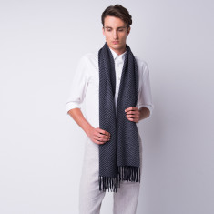 Wide herringbone fringed cashmere scarf