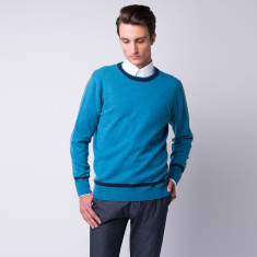 Cashmere double neckline crew top in Monet blue