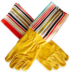 Men's protective cuff leather gardening gloves in paprika
