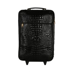 Zeno croc black leather travel bag wheeled luggage