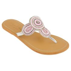 Girls' leather sandals in pink