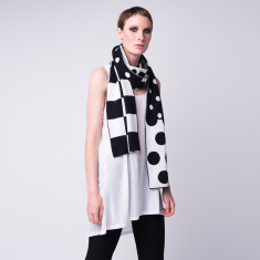 Geometric double layer cashmere scarf