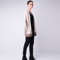 Cashmere colour block long cardi