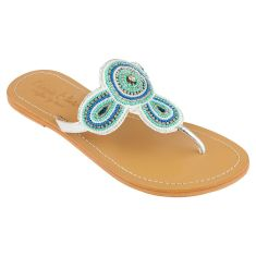 Girls' leather sandals in turquoise/white