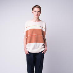 Loose-fit colour block cashmere crew top