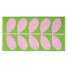 Orla Kiely jacquard stem beach towel lilac pink & grass