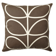Orla Kiely linear stem cushion in chocolate