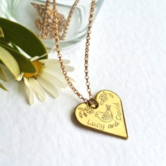 Personalised gold heart necklace