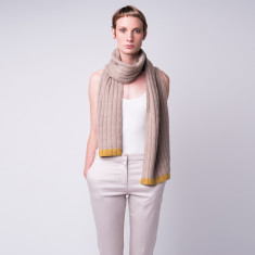 Hint of mustard cashmere cable knit scarf