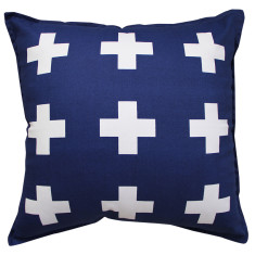 Crosses cushion cover in navy