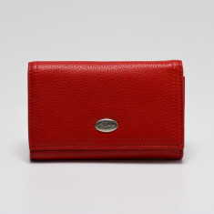 Adele medium credit card wallet with zip coin purse in red