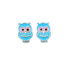 A small world blue owls stud earrings