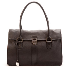 Blanche flapover leather handbag in black