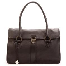 Blanche flapover leather handbag in black
