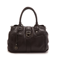 Blanche grip handle leather handbag in black