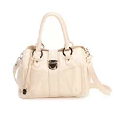 Blanche grip handle leather handbag in ecru