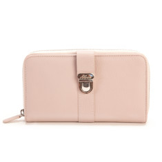 Blanche large zip leather clutch wallet with credit card flap in dust pink