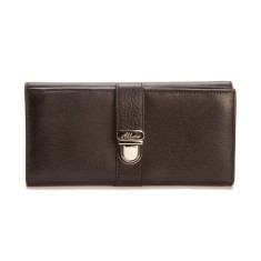 Blanche large slim leather wallet with coin purse in black