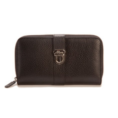 Blanche large zip leather wallet with credit card flap in black