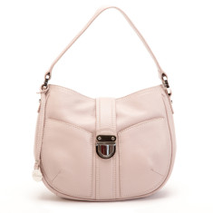 Blanche small leather hobo bag in dust pink