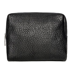 Luxury leather toiletry bag in black