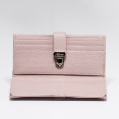 Blanche large slim leather wallet with coin purse in dust pink