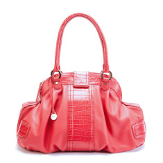 Camilla large leather hobo bag in coral